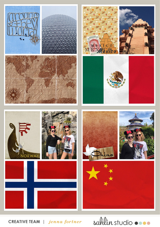 digital scrapbooking layout created by Jenna featuring Around the World by Sahlin Studio and Britt-ish Designs