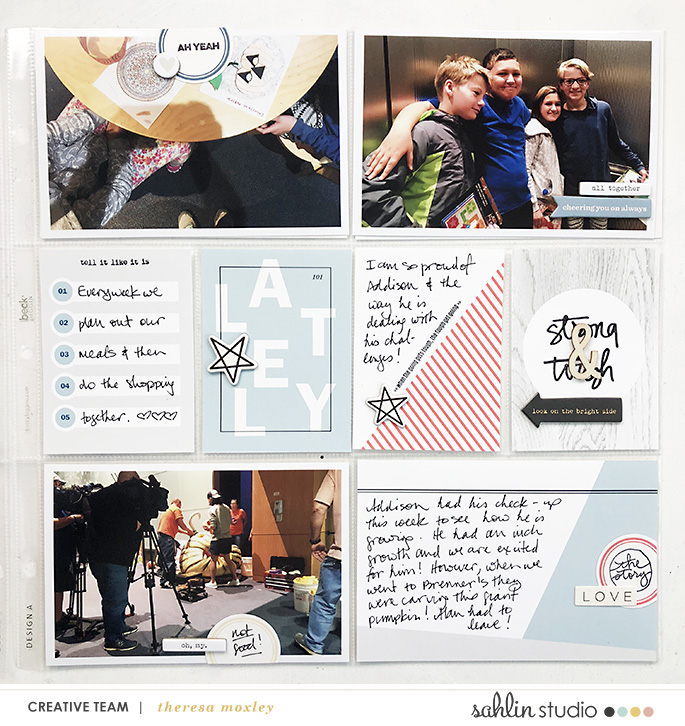 hybrid scrapbooking layout created by theresa moxley featuring For Real by Sahlin Studio