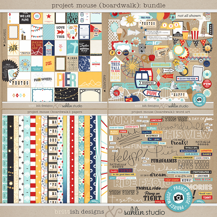 Project Mouse (Boardwalk): BUNDLE by Britt-ish Designs and Sahlin Studio - Perfect for documenting your pier, boardwalk, California Adventure, Disneyland Project Life and Disney albums!!