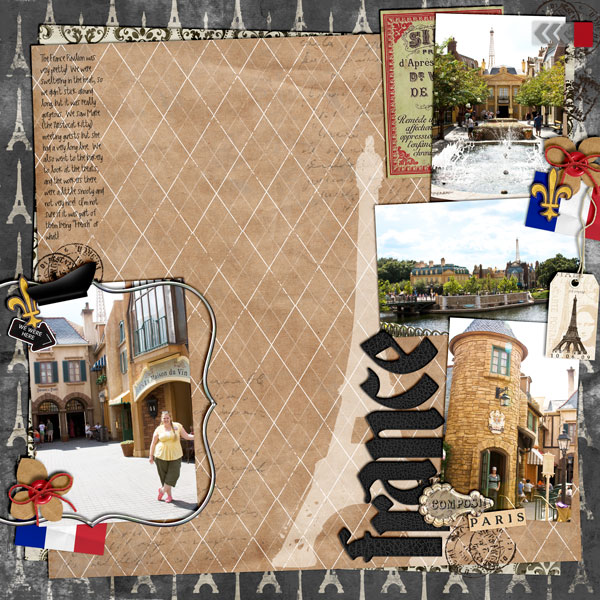 Disney Epcot France digital scrapbooking layout featuring Around the World by Sahlin Studio and Britt-ish Designs