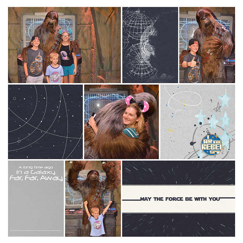 Disney Star Wars Chewie digital scrapbooking page using Project Mouse (Tomorrow): Enamel Pins & Artsy by Britt-ish Designs and Sahlin Studio