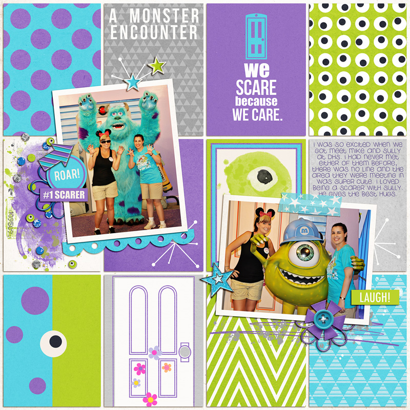 Disney Monsters Inc Mike Sully Meet and Greet digital scrapbooking page using Project Mouse (Tomorrow): Enamel Pins & Artsy by Britt-ish Designs and Sahlin Studio