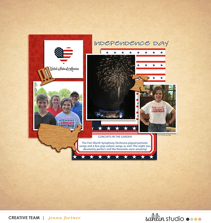 digital scrapbooking layout created by Jenna featuring July 2018 FREE Template by Sahlin Studio