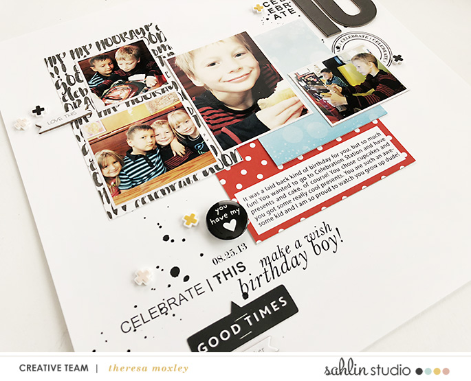 hybrid scrapbooking layout created by Theresa Moxley featuring July 2018 FREE Template by Sahlin Studio