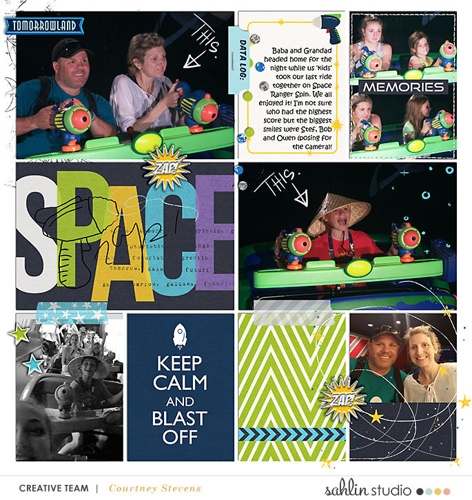 Disney Tomorrowland Space Buzz Lightyear digital scrapbooking page using Project Mouse (Tomorrow): Enamel Pins & Artsy by Britt-ish Designs and Sahlin Studio