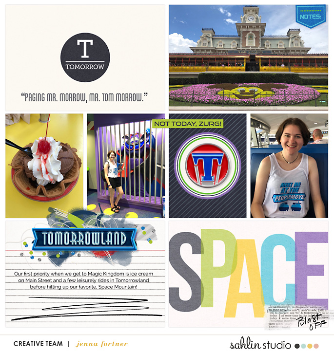 Disney Tomorrowland Space digital scrapbooking page using Project Mouse (Tomorrow): Enamel Pins & Artsy by Britt-ish Designs and Sahlin Studio