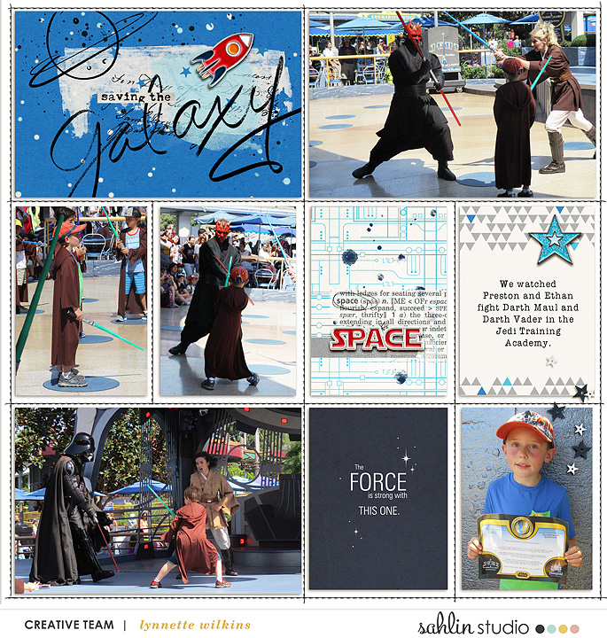 Disney Star Wars Saving the Galaxy digital scrapbooking page using Project Mouse (Tomorrow): Enamel Pins & Artsy by Britt-ish Designs and Sahlin Studio
