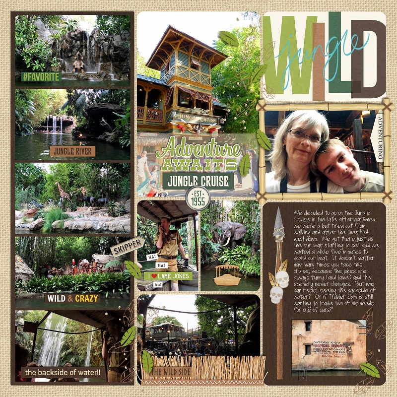 Disney Adventureland Jungle Cruise Project Life page using Project Mouse (Adventure): Artsy & Pins by Britt-ish Designs and Sahlin Studio