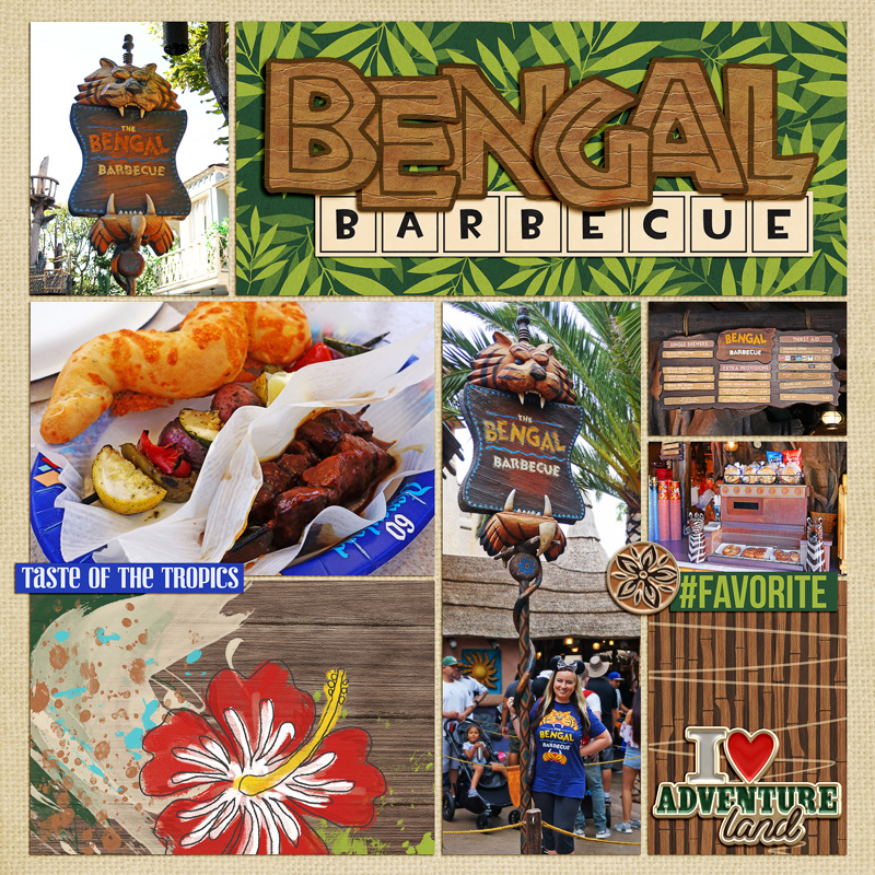 Bengal Barbecue Disney Adventureland Project Life page using Project Mouse (Adventure): Artsy & Pins by Britt-ish Designs and Sahlin Studio