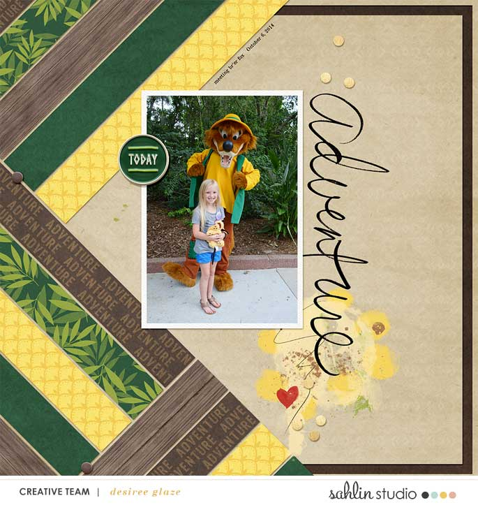 Adventureland Disney digital scrapbooking page using Project Mouse (Adventure): Artsy & Pins by Britt-ish Designs and Sahlin Studio