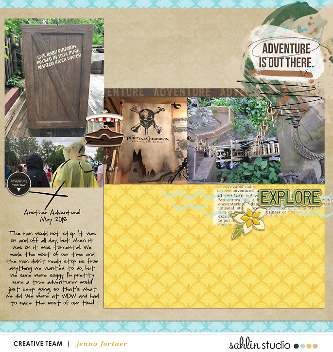 Adventure is out there - Indiana Jones - Adventureland Disney digital scrapbooking page using Project Mouse (Adventure): Artsy & Pins by Britt-ish Designs and Sahlin Studio
