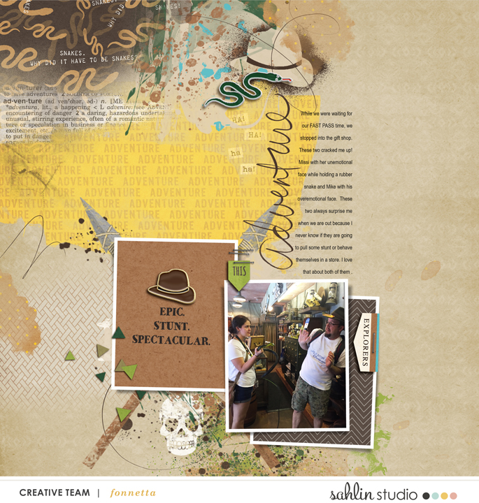Indiana Jones Stunt Snakes Adventureland Disney digital scrapbooking page using Project Mouse (Adventure): Artsy & Pins by Britt-ish Designs and Sahlin Studio