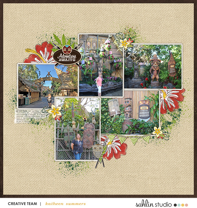 Tiki Tiki Adventureland Disney digital scrapbooking page using Project Mouse (Adventure): Artsy & Pins by Britt-ish Designs and Sahlin Studio