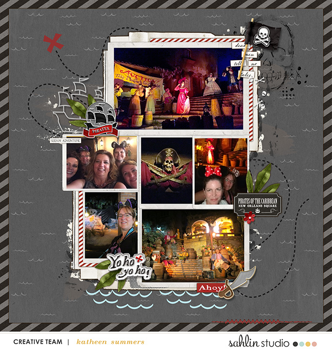 Pirates of the Caribbean - Yo ho yo ho Disney digital scrapbooking page using Project Mouse (Adventure): Artsy & Pins by Britt-ish Designs and Sahlin Studio
