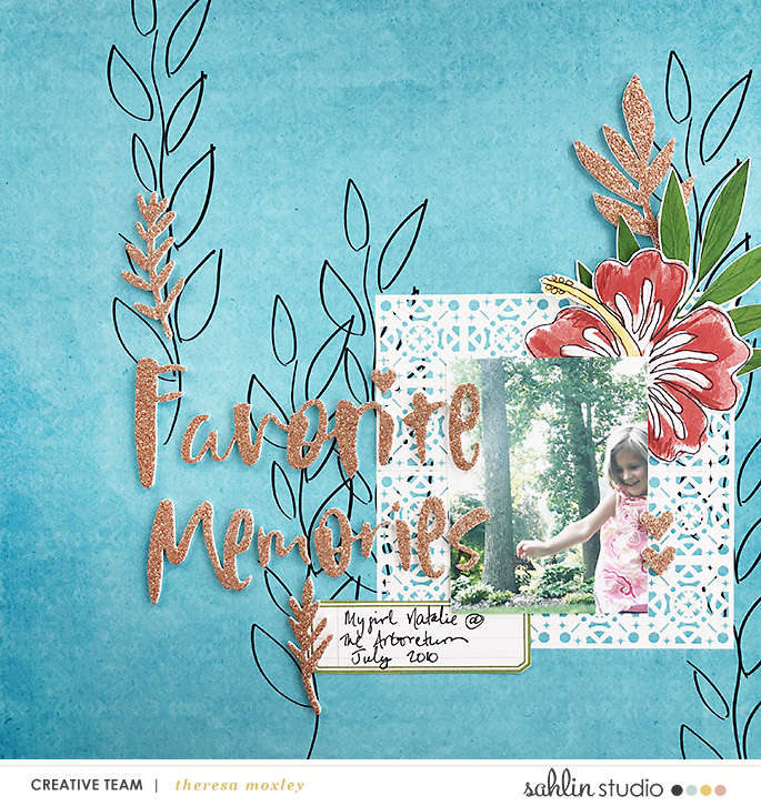 Favorite Memories digital scrapbooking page using Project Mouse (Adventure): Artsy & Pins by Britt-ish Designs and Sahlin Studio