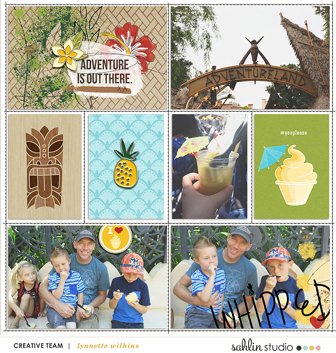 Disney Adventureland Project Life page using Project Mouse (Adventure): Artsy & Pins by Britt-ish Designs and Sahlin Studio