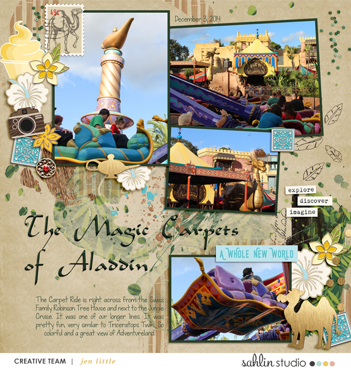 Magic Carpet Ride Aladdin Disney digital scrapbooking page using Project Mouse (Adventure): Artsy & Pins by Britt-ish Designs and Sahlin Studio