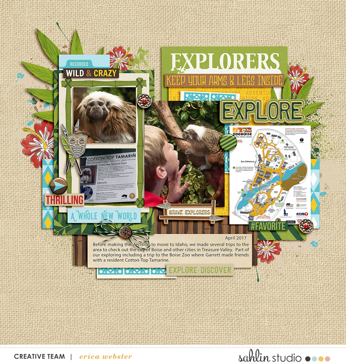 Explore Zoo digital scrapbooking page using Project Mouse (Adventure): Artsy & Pins by Britt-ish Designs and Sahlin Studio