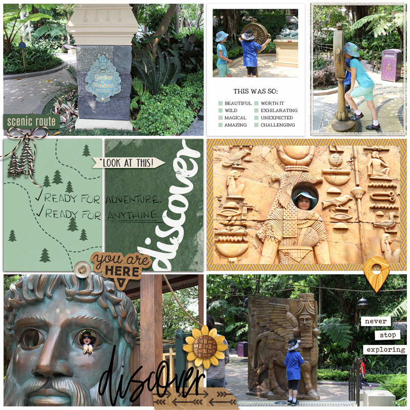 Discover the Scenic Route digital scrapbook Project Life page Project Mouse (Wilderness) by Britt-ish Designs and Sahlin Studio