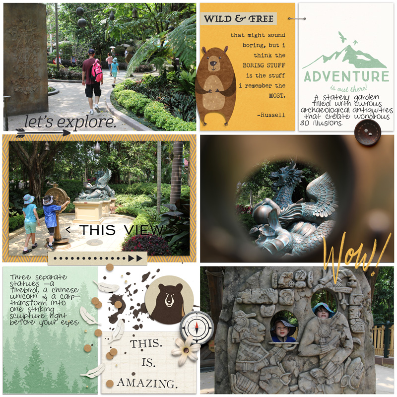 Traveling Exploring Adventure digital scrapbook Project Life page Project Mouse (Wilderness) by Britt-ish Designs and Sahlin Studio