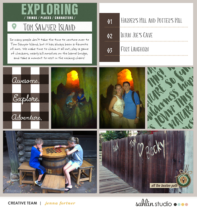 Exploring Tom Sawyer Island Disney digital scrapbook Project Life page Project Mouse (Wilderness) by Britt-ish Designs and Sahlin Studio