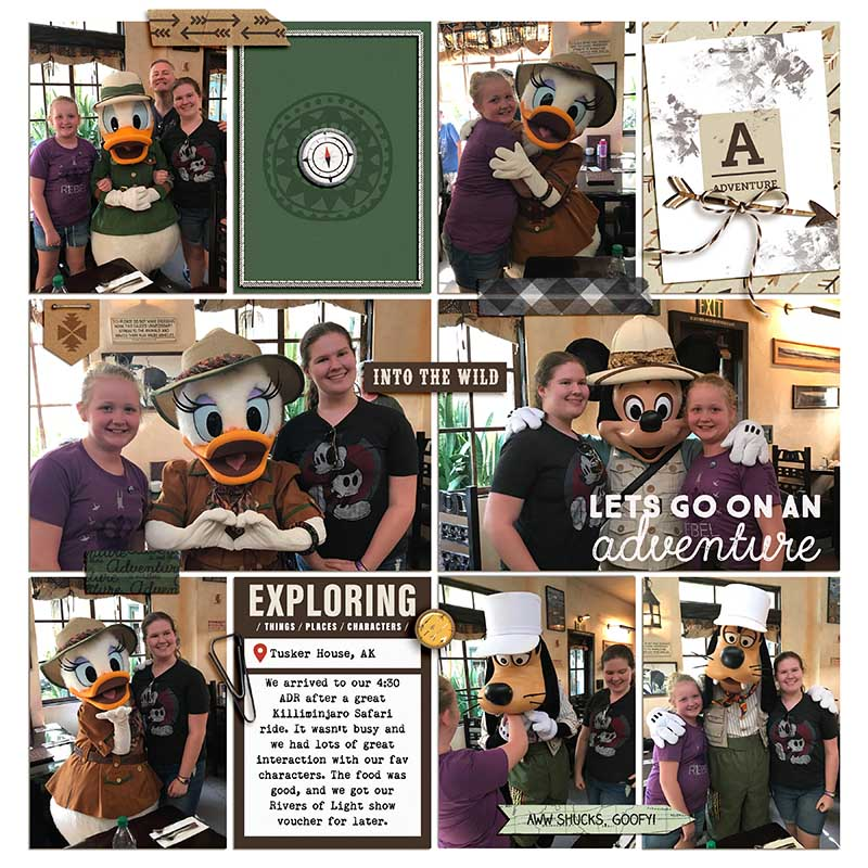 Disney Donald Duck and Goofy Lets Go on Adventure digital scrapbook Project Life page Project Mouse (Wilderness) by Britt-ish Designs and Sahlin Studio