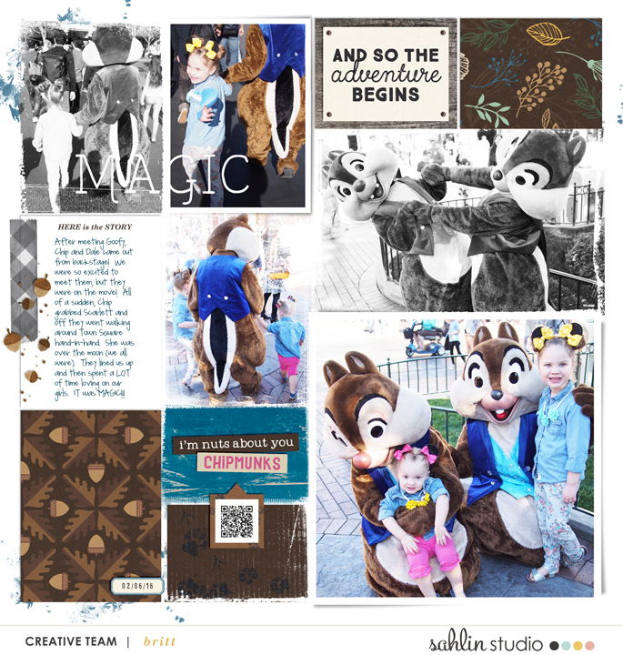 Disney Chip and Dale digital scrapbook Project Life page Project Mouse (Wilderness) by Britt-ish Designs and Sahlin Studio