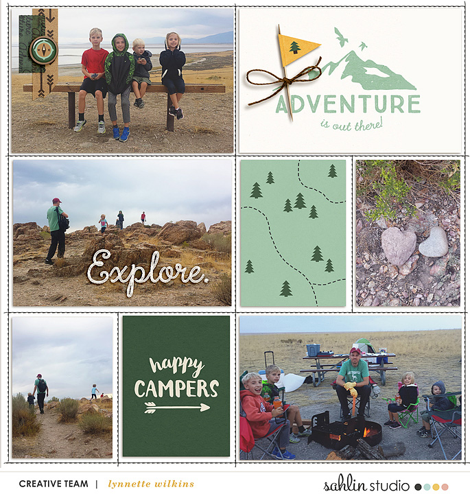Adventure is out there - Camping digital scrapbook Project Life page Project Mouse (Wilderness) by Britt-ish Designs and Sahlin Studio