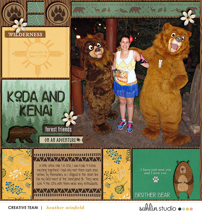 Disney Koda and Kenan Brother Bears digital scrapbook Project Life page Project Mouse (Wilderness) by Britt-ish Designs and Sahlin Studio