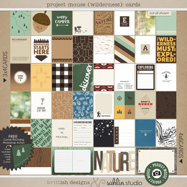 Project Mouse (Wilderness): Journal Cards by Britt-ish Designs and Sahlin Studio - Perfect for scrapbooking your travels in the wilderness camping, At Wilderness Lodge, Merida Brave, Pocahontas or Chip and Dale in your Project Life albums!!