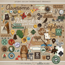 Project Mouse (Wilderness): Elements by Britt-ish Designs and Sahlin Studio - Perfect for scrapbooking your travels in the wilderness camping, At Wilderness Lodge, Merida Brave, Pocahontas or Chip and Dale in your Project Life albums!!