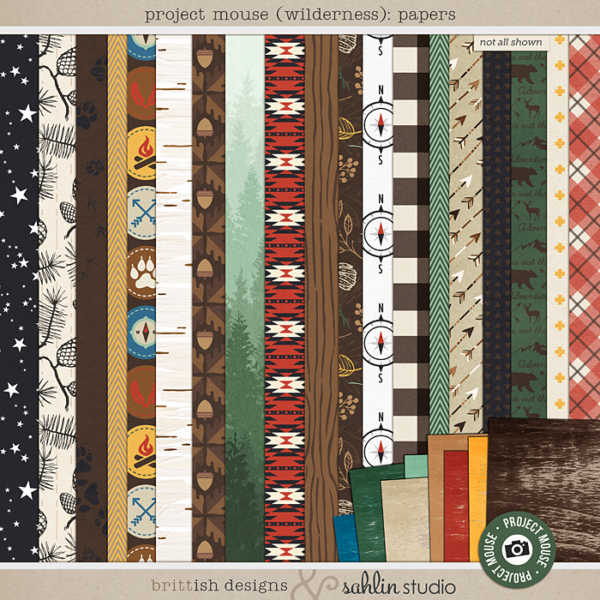 Project Mouse (Wilderness): Papers by Britt-ish Designs and Sahlin Studio - Perfect for scrapbooking your travels in the wilderness camping, At Wilderness Lodge, Merida Brave, Pocahontas or Chip and Dale in your Project Life albums!!