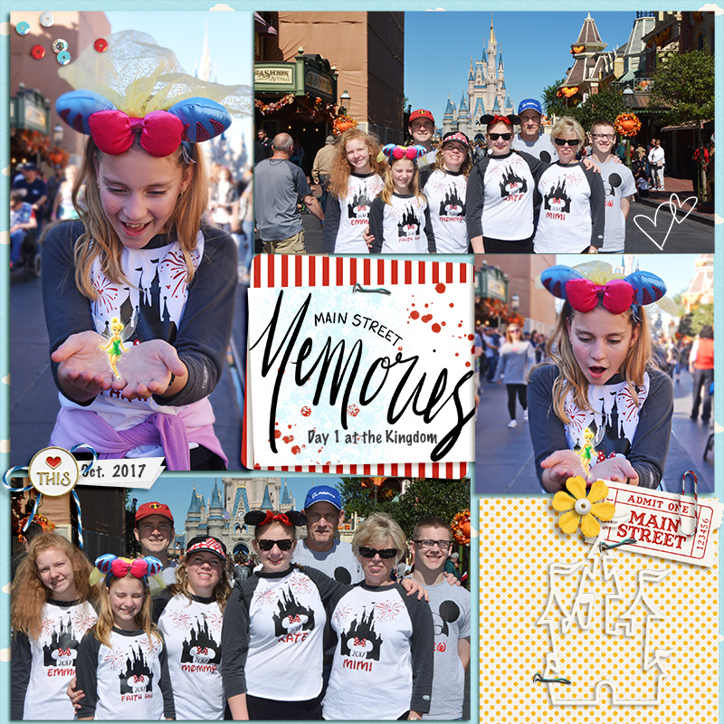 Disney Main Street Memories scrapbook Project Life page Project Mouse (Main Street) Artsy and Enamel Pins by Britt-ish Designs and Sahlin Studio