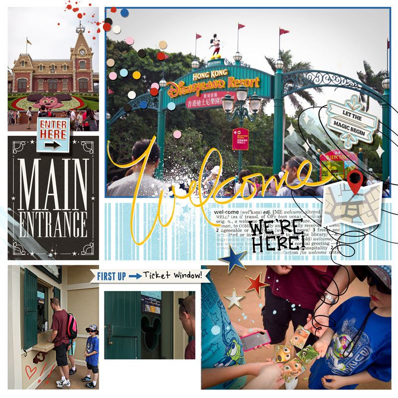 Disney WELCOME Main Entrance scrapbook Project Life page Project Mouse (Main Street) Artsy and Enamel Pins by Britt-ish Designs and Sahlin Studio