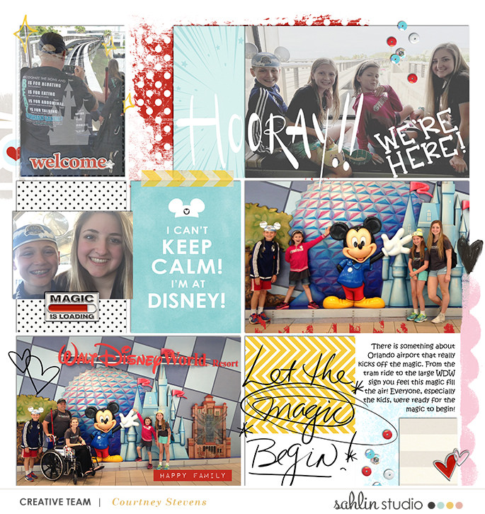 Disney HOORAY We're Here Main Street scrapbook Project Life page Project Mouse (Main Street) Artsy and Enamel Pins by Britt-ish Designs and Sahlin Studio
