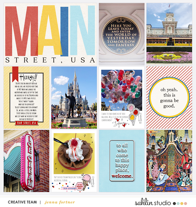 Disney Main Street scrapbook Project Life page Project Mouse (Main Street) Artsy and Enamel Pins by Britt-ish Designs and Sahlin Studio