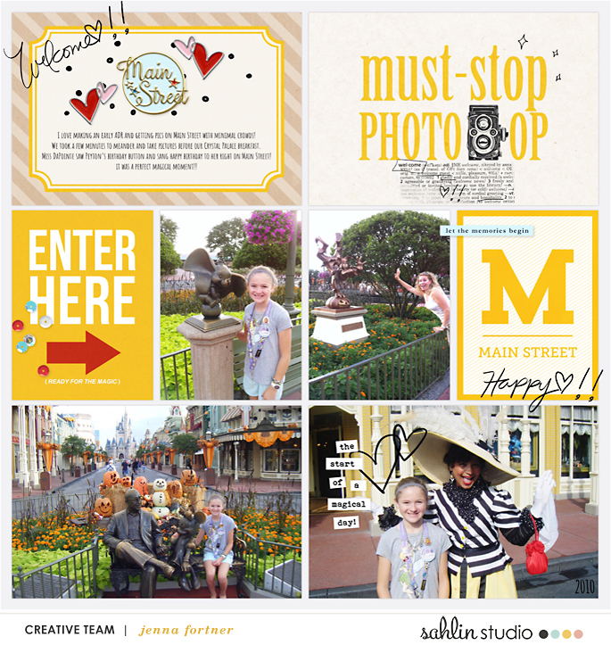Disney ENTER HERE Main Street Project Life page Project Mouse (Main Street) Artsy and Enamel Pins by Britt-ish Designs and Sahlin Studio