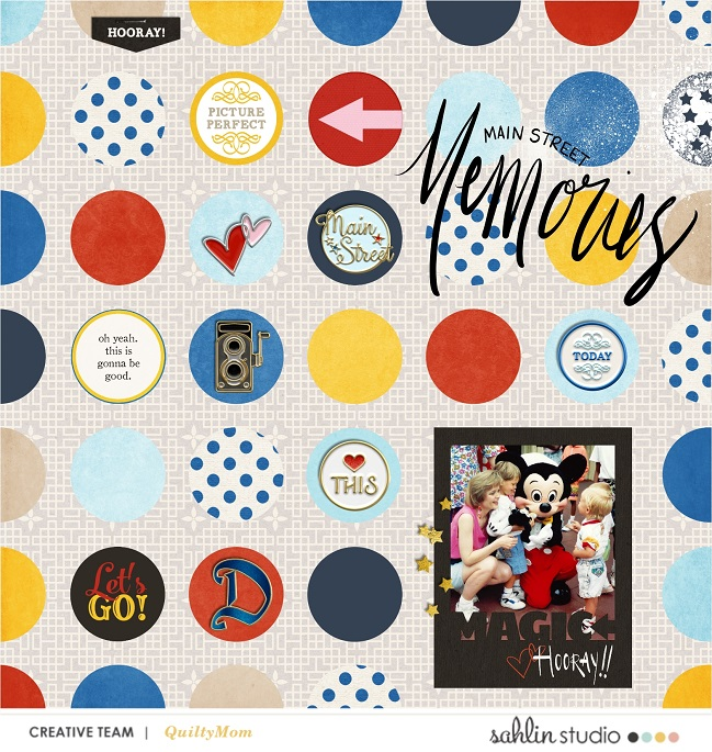 Disney Main Street Memories scrapbook page Project Mouse (Main Street) Artsy and Enamel Pins by Britt-ish Designs and Sahlin Studio