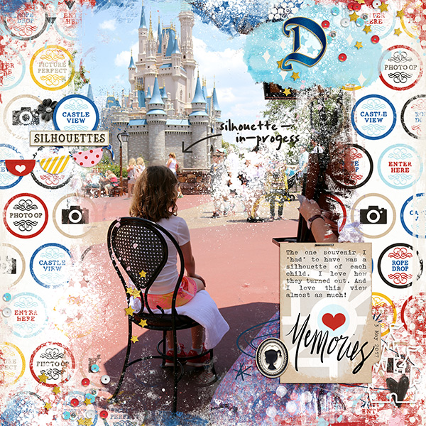 Disney Castle View Silhouettes scrapbook page Project Mouse (Main Street) Artsy and Enamel Pins by Britt-ish Designs and Sahlin Studio