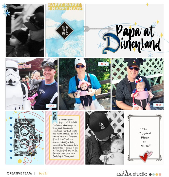 Disney Papa and Babies scrapbook Project Life page Project Mouse (Main Street) Artsy and Enamel Pins by Britt-ish Designs and Sahlin Studio