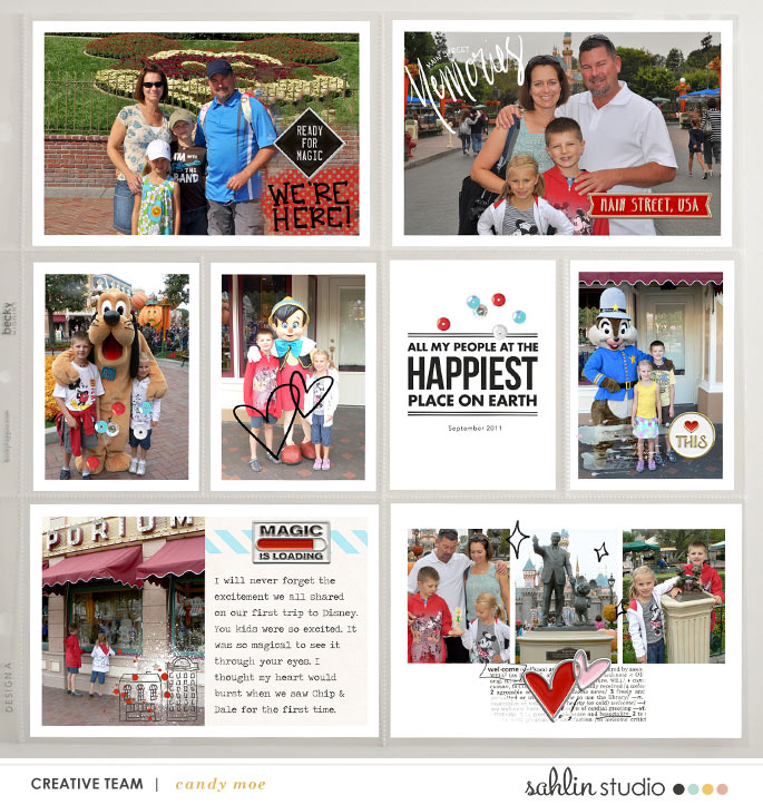 "Disney Main Street ""Happiest Place on Earth"" scrapbook Project Life page Project Mouse (Main Street) Artsy and Enamel Pins by Britt-ish Designs and Sahlin Studio"
