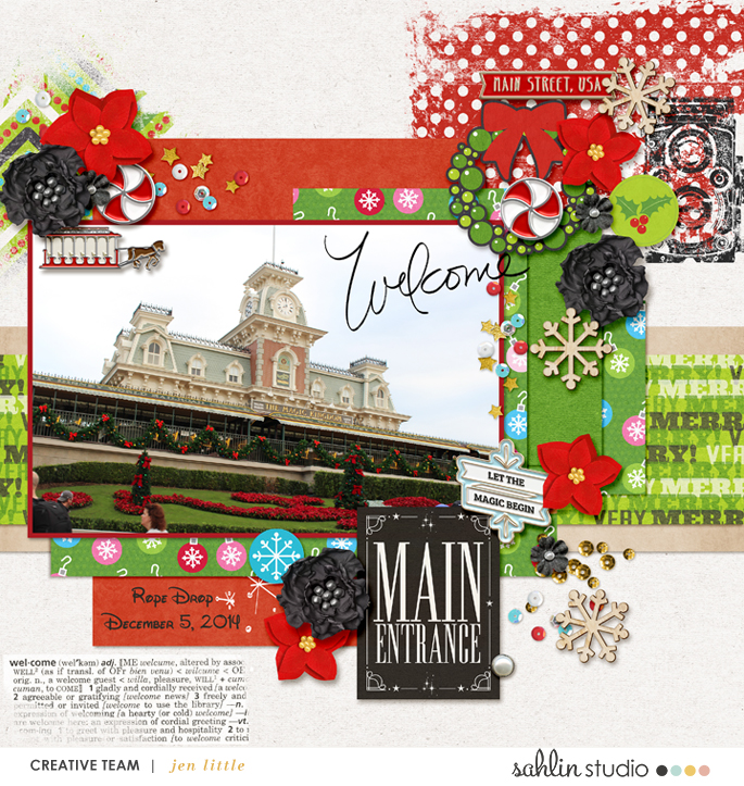 Disney Main Street Welcome ENTRANCE scrapbook page Project Mouse (Main Street) Artsy and Enamel Pins by Britt-ish Designs and Sahlin Studio