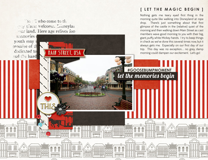Disney Main Street - Let the Magic Begin - scrapbook page Project Mouse (Main Street) Artsy and Enamel Pins by Britt-ish Designs and Sahlin Studio