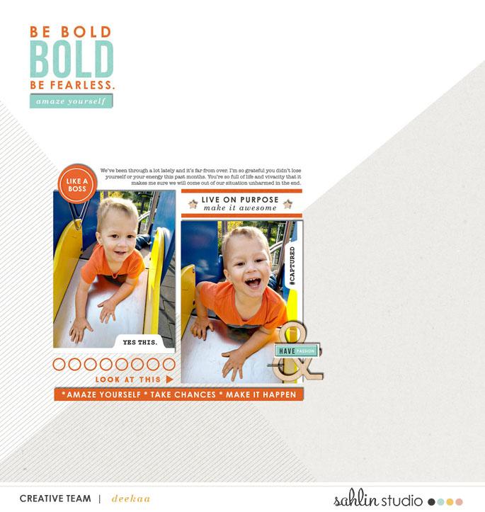 Be Bold digital scrapbook page Snapshots Photo Templates by Sahlin Studio
