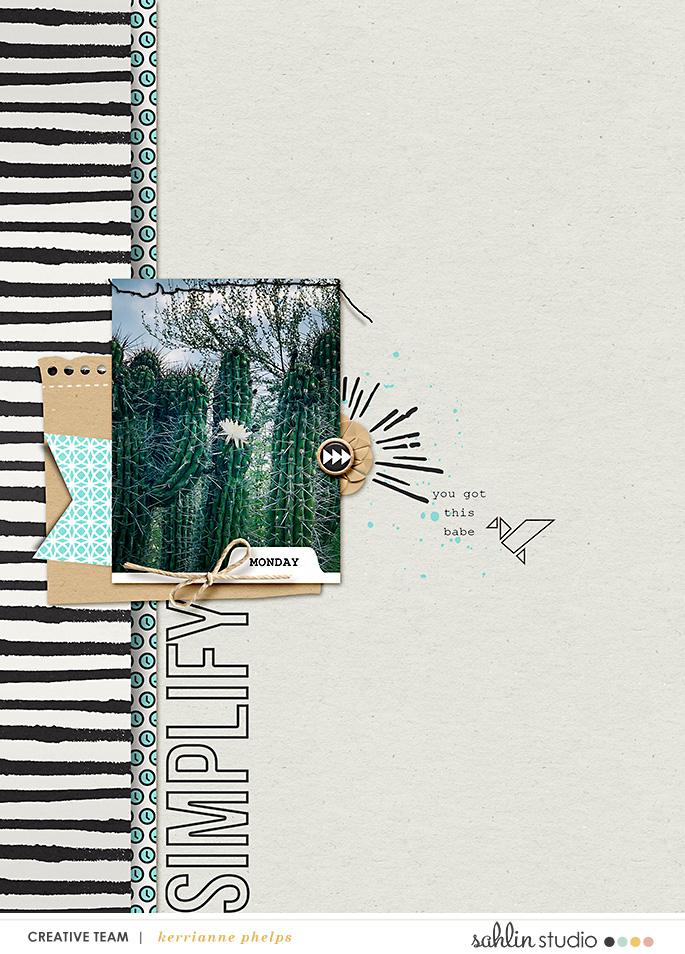Simplify digital scrapbook page Snapshots Photo Templates by Sahlin Studio