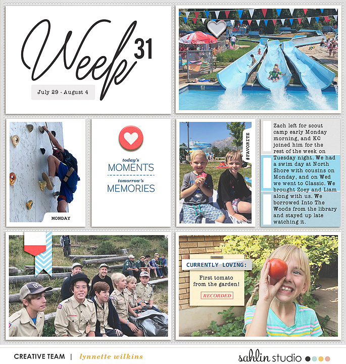 Weekly Project Life scrapbook page Snapshots Photo Templates by Sahlin Studio
