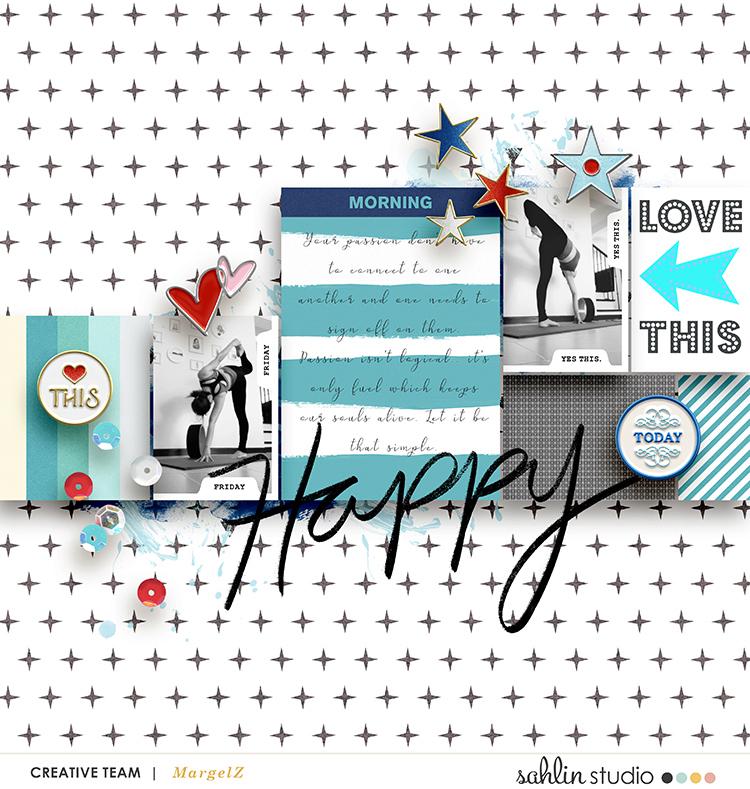 Happy digital scrapbook page Snapshots Photo Templates by Sahlin Studio