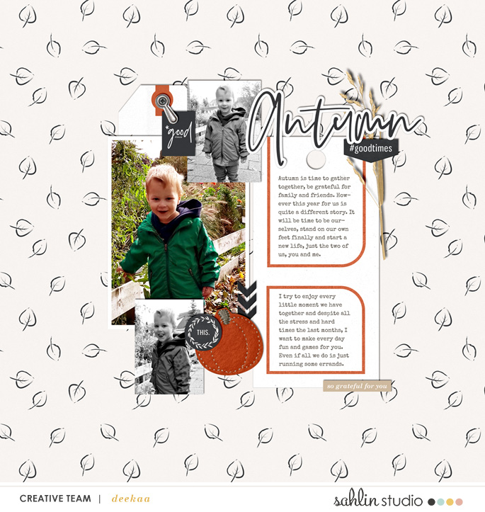 Autumn digital scrapbook page using Gather | Kit and Journal Cards by Sahlin Studio