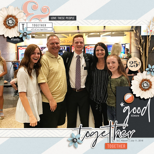 Thanksgiving Together digital scrapbook page using Gather | Kit and Journal Cards by Sahlin Studio