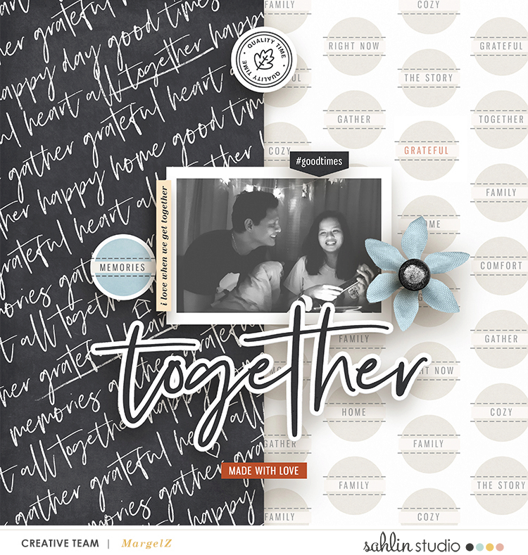 Together digital scrapbook page using Gather | Kit and Journal Cards by Sahlin Studio